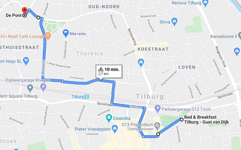 B&B-Tilburg roadmap to De Pont Museum