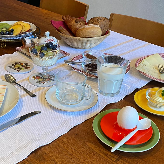 freshly prepared breakfast awaits you