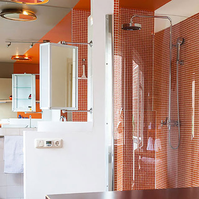 B&B-Tilburg Orange Submarine Room, Beam me up Scotty panoramic Rain Shower