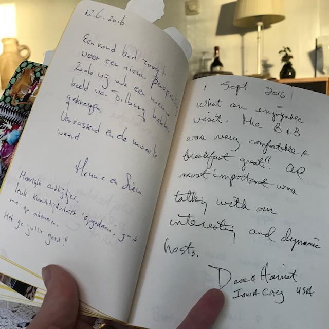 Review in guestbook B&B-Tilburg Gust van Dijk