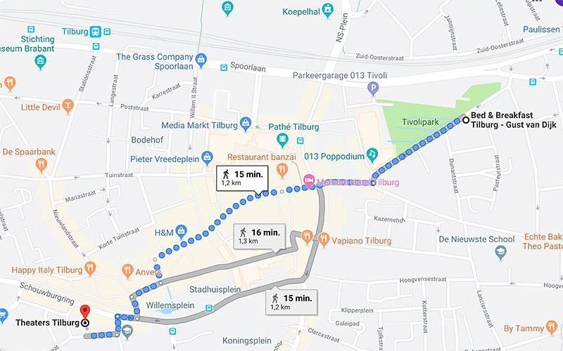 B&B-Tilburg wandelrouten naar Theaters Tilburg
